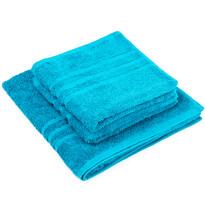 Sada ručníků a osušky Classic modrá, 2 ks 50 x 100 cm, 1 ks 70 x 140 cm
