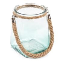 Üveg gyertyatartó,kék