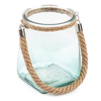 Závesný sklenený svietnik, modrá