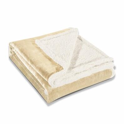 Pătură imitaţie lână DecoKing Teddy, crem, 150 x 200 cm