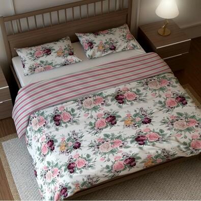 BedTex pamut ágyneműhuzat Rózsa , 140 x 200 cm, 70 x 90 cm