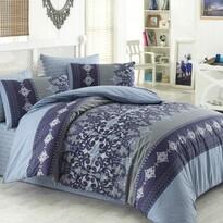 Lenjerie de pat, din bumbac, Valeria, albastru/gri