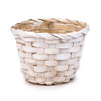 Bambusový obal na kvetináč biela, pr. 14 cm
