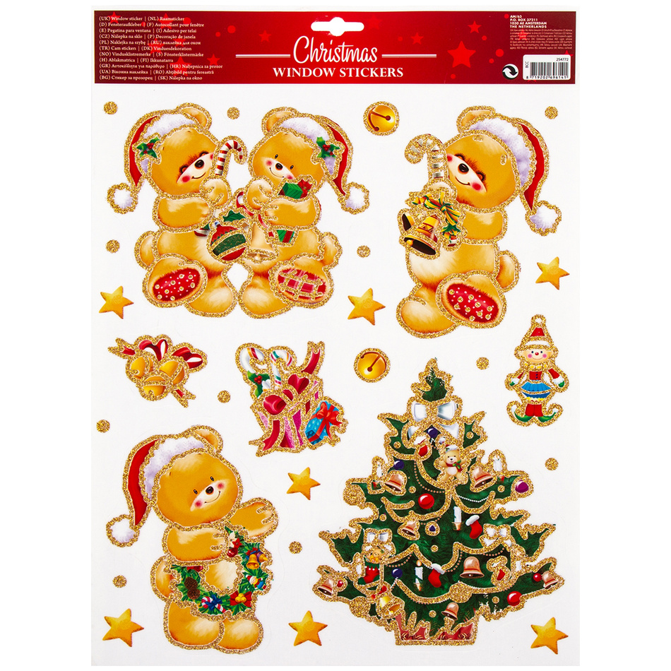 Vánoční okenní dekorace Traditions, zlatá