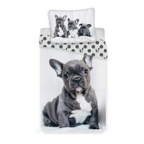 Jerry Fabrics Bulldog gyermek pamut ágynemű, 140 x 200 cm, 70 x 90 cm