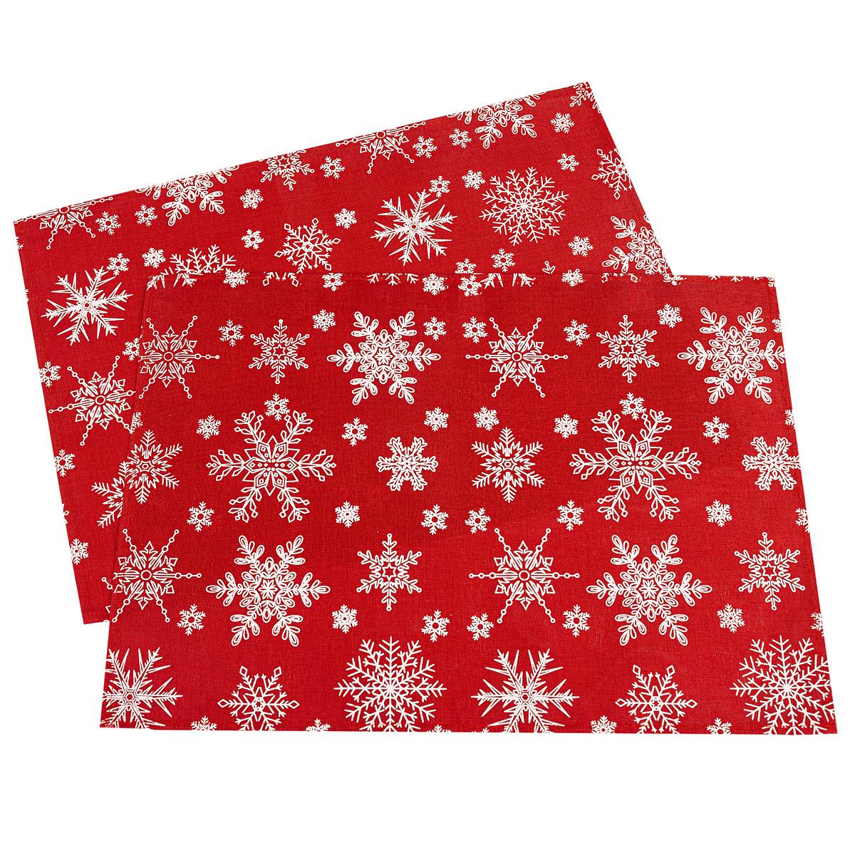 Dakls Vánoční prostírání Vločka červená, 32 x 45 cm, sada 2 ks