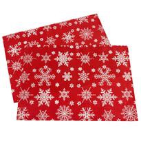 Napron de Crăciun Fulg de zăpadă, roșu, 32 x 45 cm, set 2 buc.