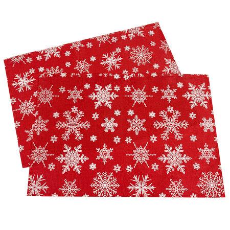 Vánoční prostírání Vločka červená, 32 x 45 cm, sada 2 ks