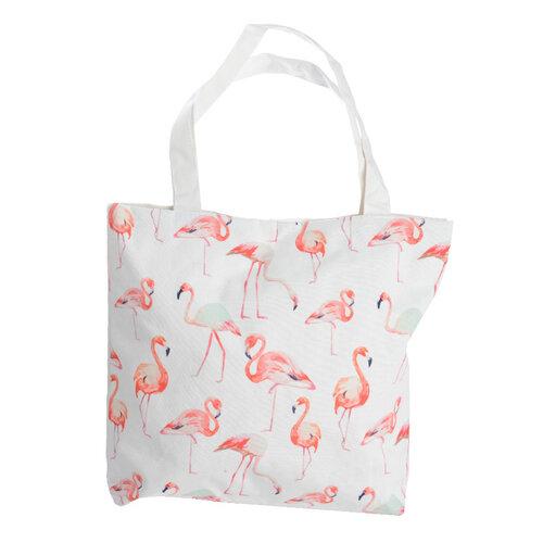 Taška Flamingo bílá, 43 x 45 cm