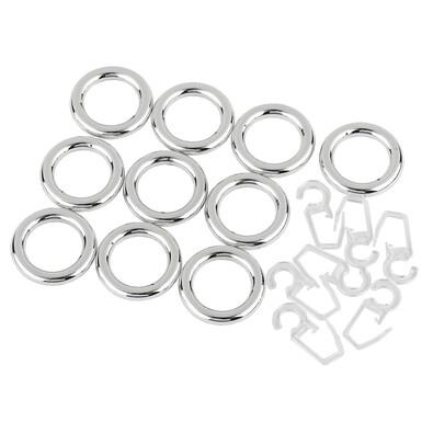 Kroužky s háčky pro vitrážní tyčky chrom, 2,3 / 3,5 cm, sada 10 ks
