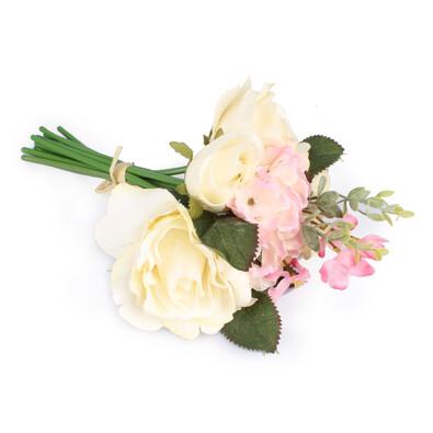 Umělá kytice růže a hortenzie bílá