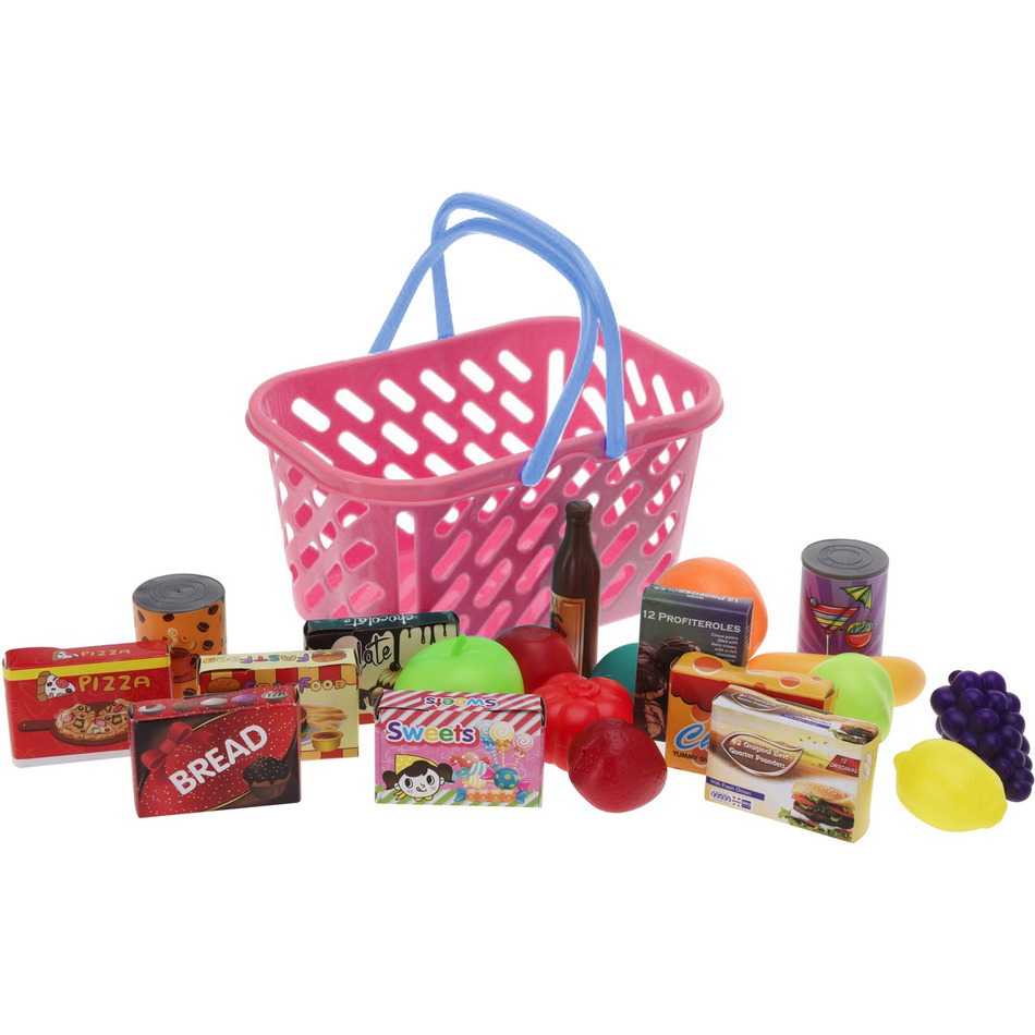 Dětský hrací set Nákupní košík růžová, 27 cm