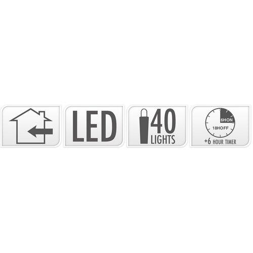 Fényfüzér Clairon 40 LED, hideg fehér