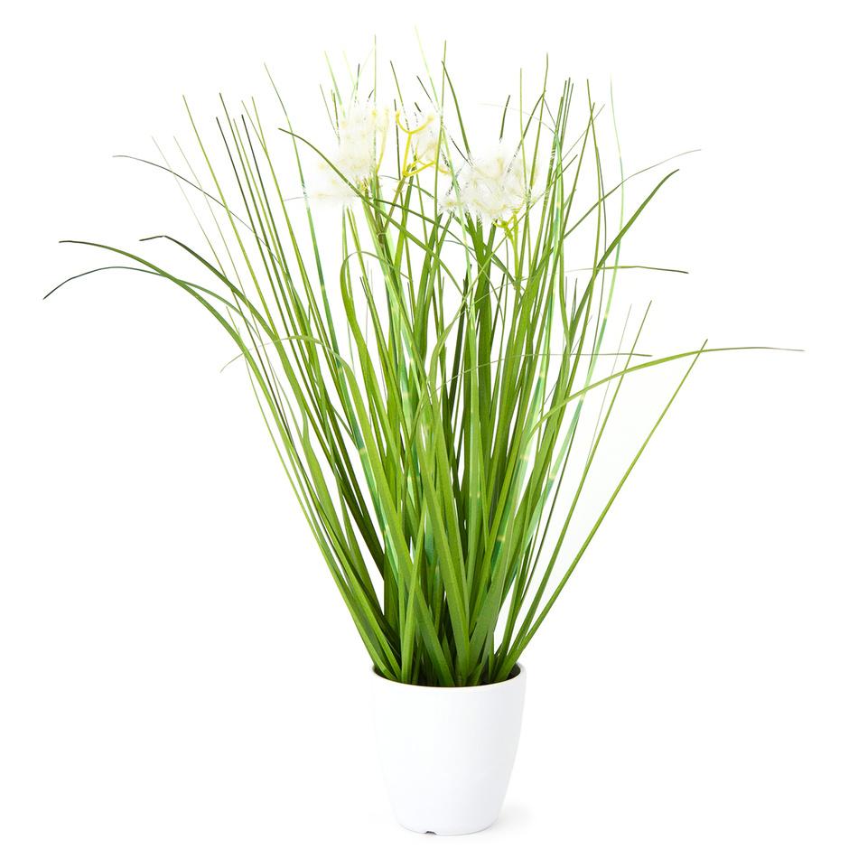 Umelá kvitnúca tráva Otilie biela, 36 cm