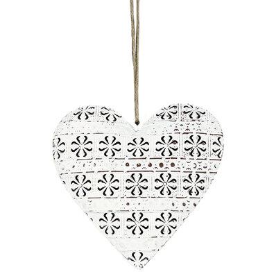 Závěsná kovová dekorace Cloverleaf heart, 10,5 cm