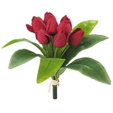 Umělá květina svazek tulipánů červená