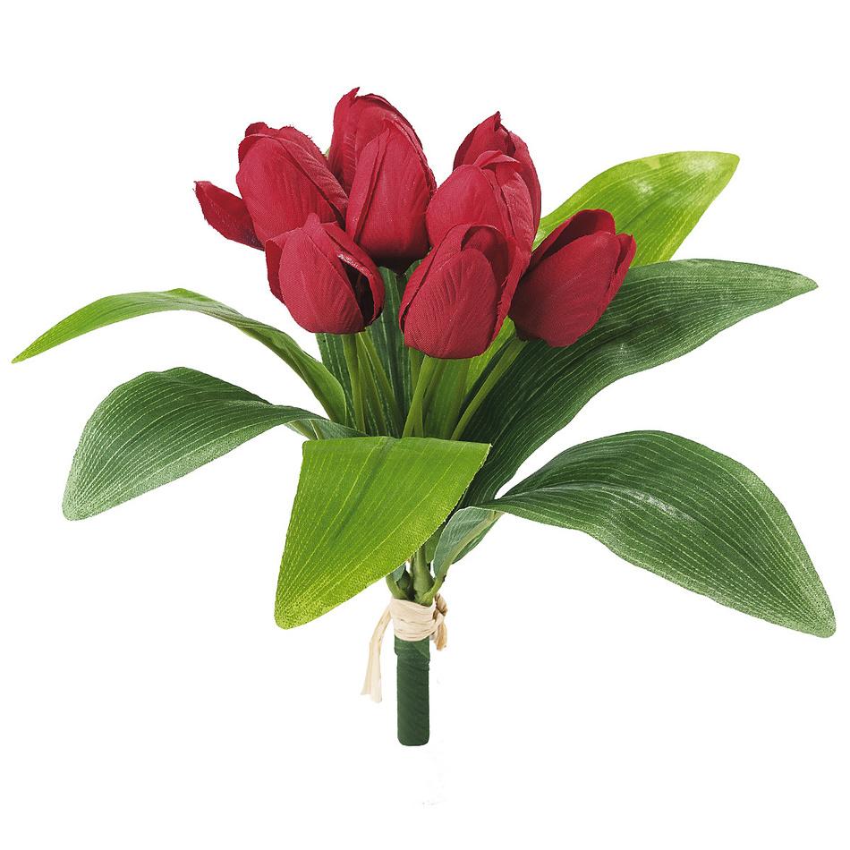 Umelá kvetina sväzok tulipánov, červená