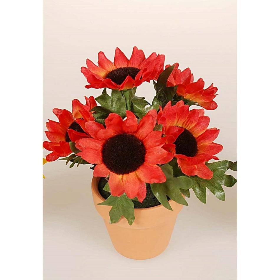 Umělá květina slunečnice v květináči, červená, HTH