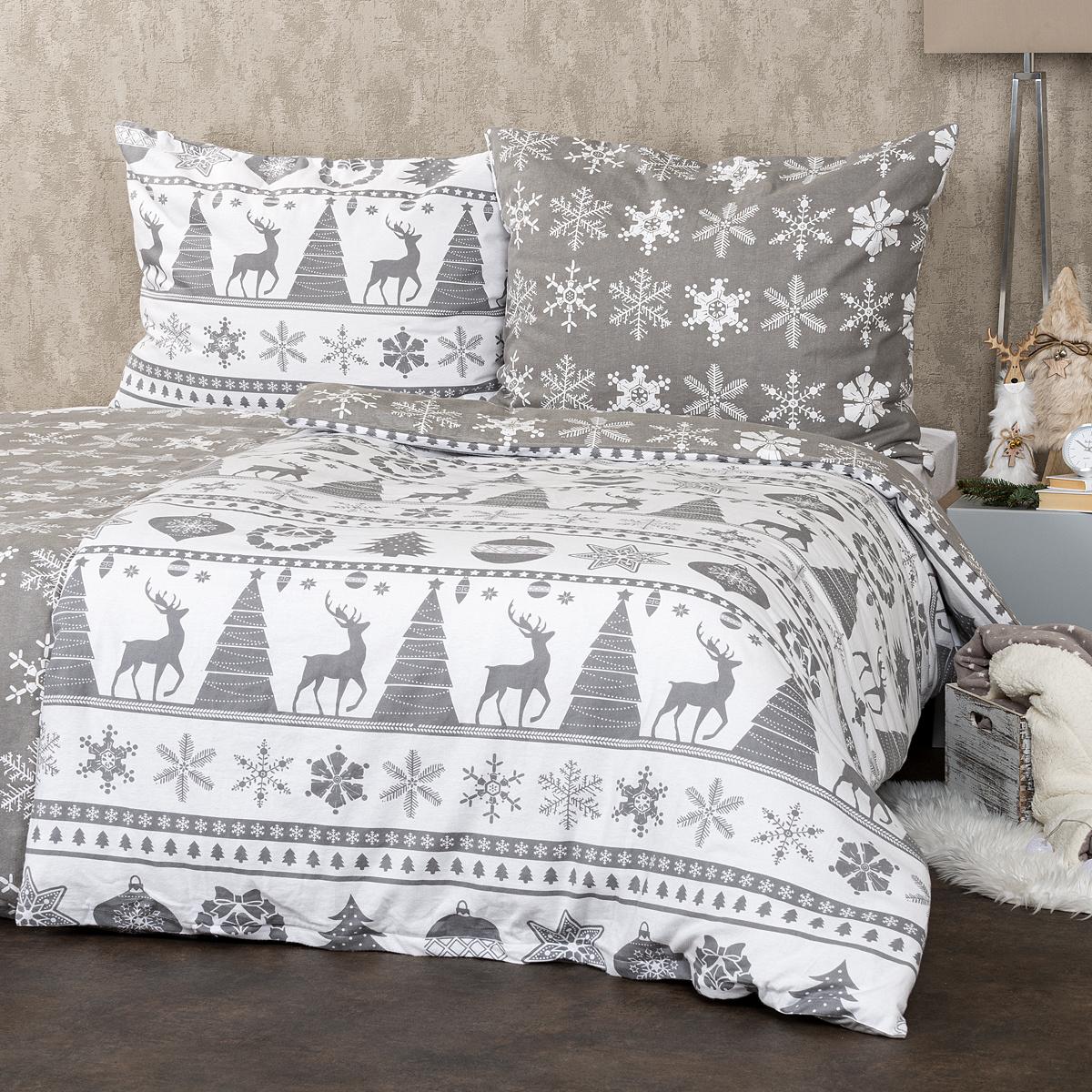 Zľava  4Home Flanelové obliečky Christmas Time sivá, 160 x 200 cm, 70 x 80 cm