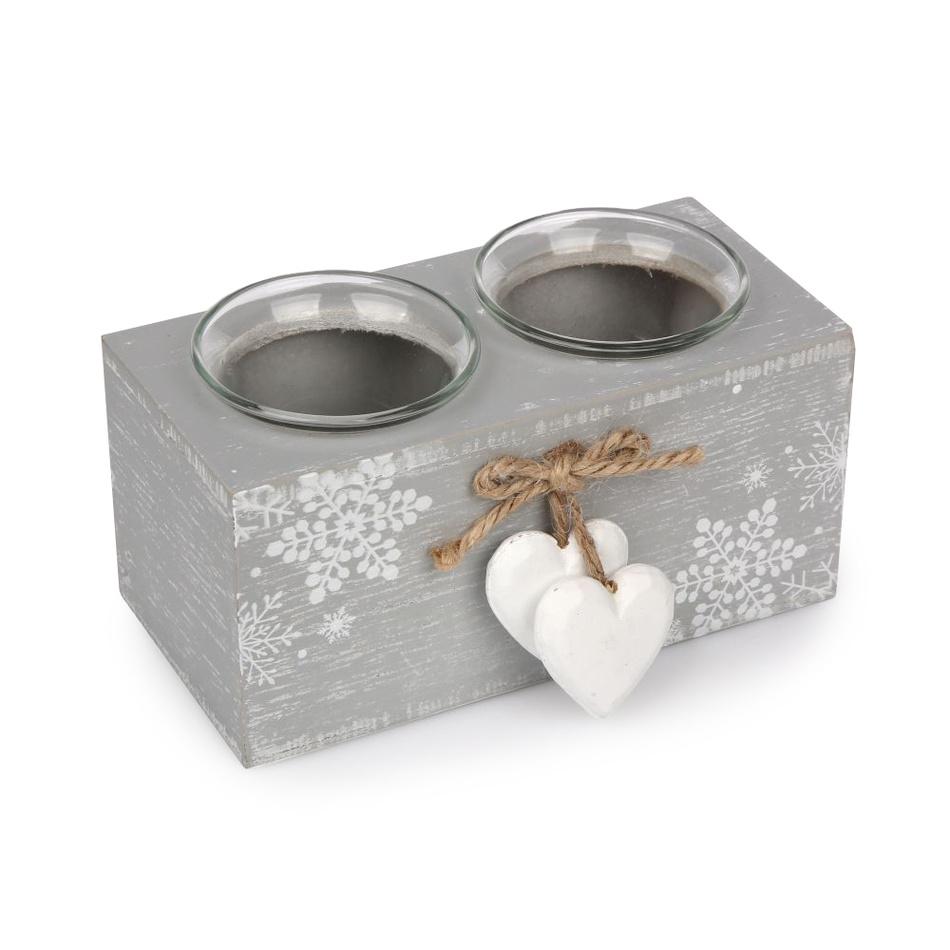 Altom Dvojitý svícen Love Winter šedá, 15 x 8 cm