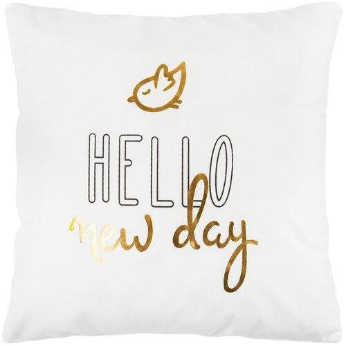 Obliečka na vankúšik Hello new day biela, 45 x 45 cm