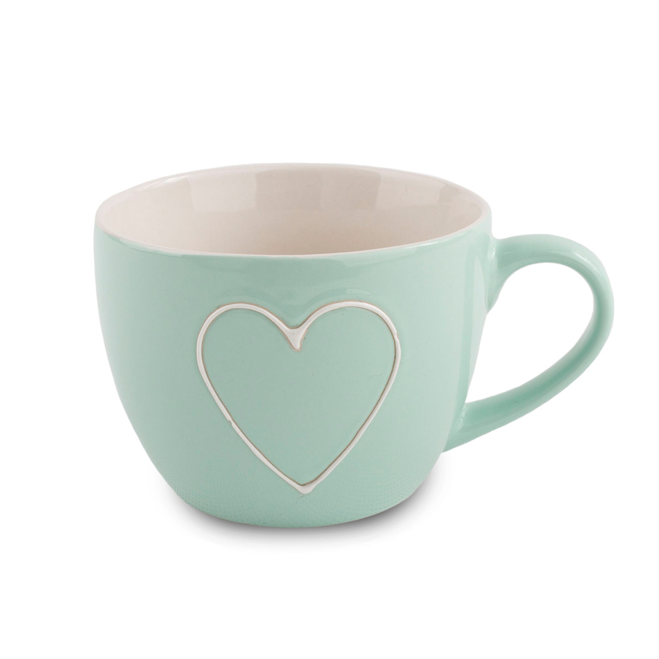 Keramický hrnek Heart 440 ml, sv. zelená