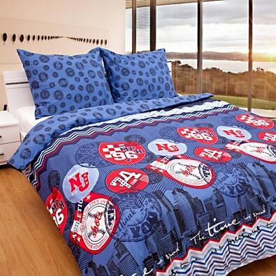 Bavlněné povlečení Time modré, 140 x 200 cm, 70 x 90 cm