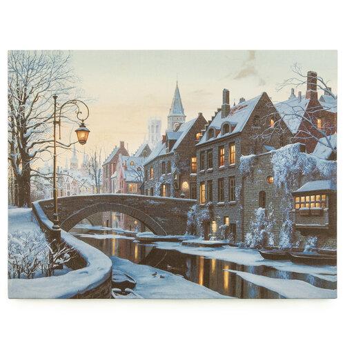 LED obraz na plátne Mesto pod snehom, 30 x 40 cm
