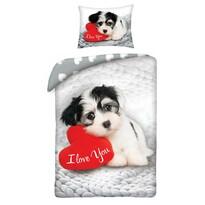 Lenjerie de pat din bumbac Love Dog, 140 x 200 cm, 70 x 90 cm