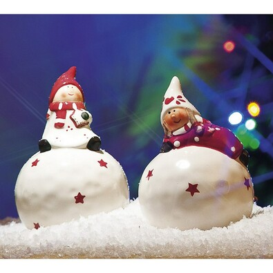 Vánoční dekorační figurky, 2 kusy, bílá + červená