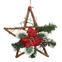 Bożonarodzeniowa gwiazda wiklinowa z poinsecją Rojo czerwony, 30 cm