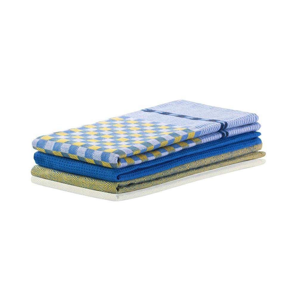 DecoKing Prosop bucatarie Louie, galben si albastru, 50 x 70 cm, set 3 buc.