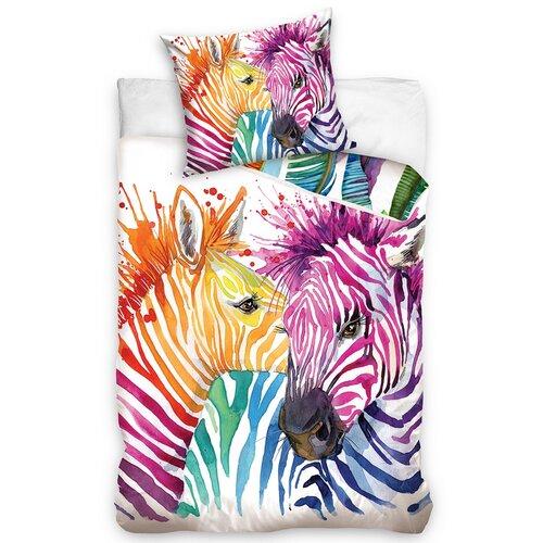 Carbotex Bavlněné povlečení Color Zebra, 140 x 200 cm, 70 x 80 cm