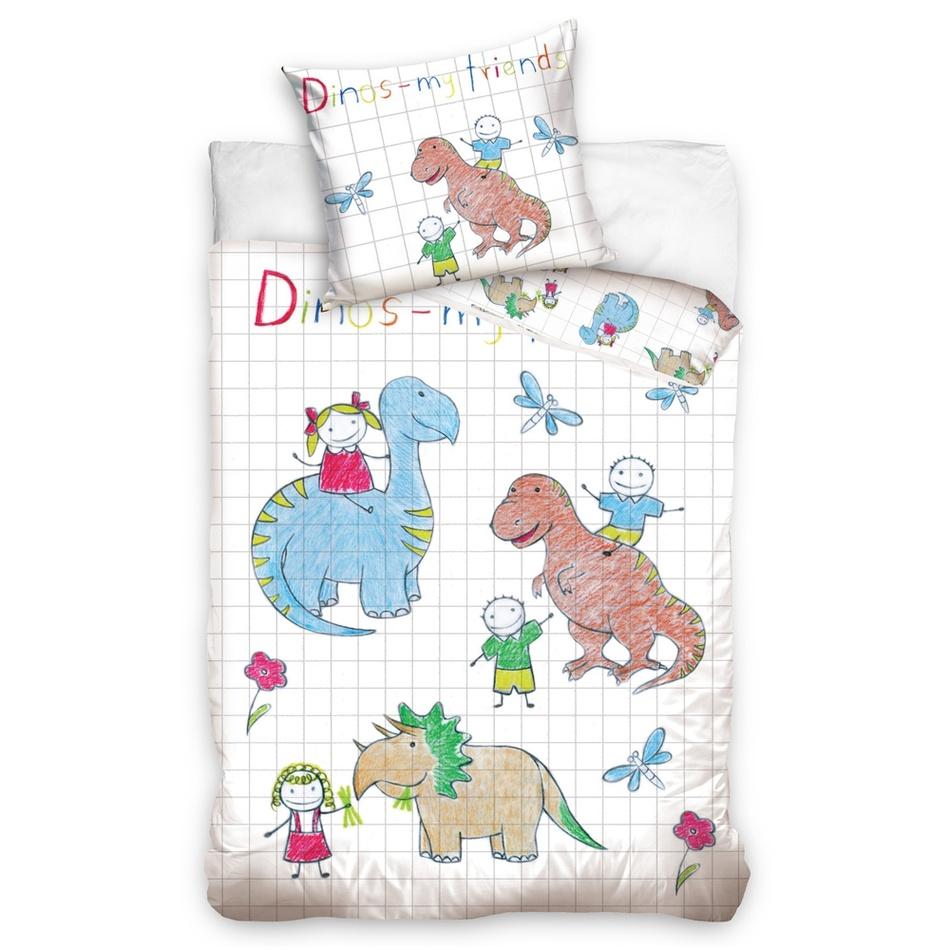 TipTrade Detské bavlnené obliečky Dino, 140 x 200 cm, 70 x 90 cm
