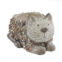 Dekoracja ogrodowa Doniczka z kamykami Kot, 28 x 21 x 17 cm