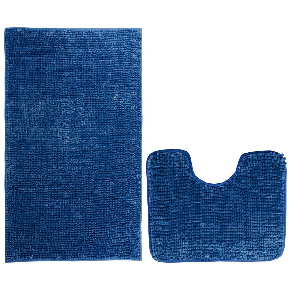 AmeliaHome Sada koupelnových předložek Bati tmavě modrá, 2 ks 50 x 80 cm, 40 x 50 cm