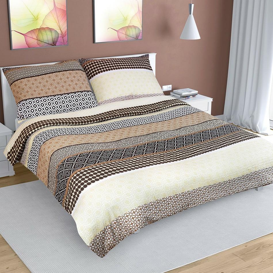 Bellatex Krepové obliečky Pruhy béžová, 240 x 220 cm, 2 ks 70 x 90 cm