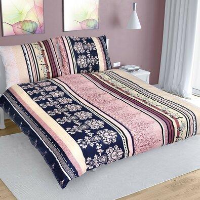 Lenjerie de pat din bumbac Dungi colorate, 200 x 200 cm, 2 buc. 70 x 90 cm