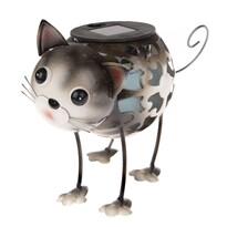 Macska szolár fém LED dekoráció, 18 x 16 x 11 cm