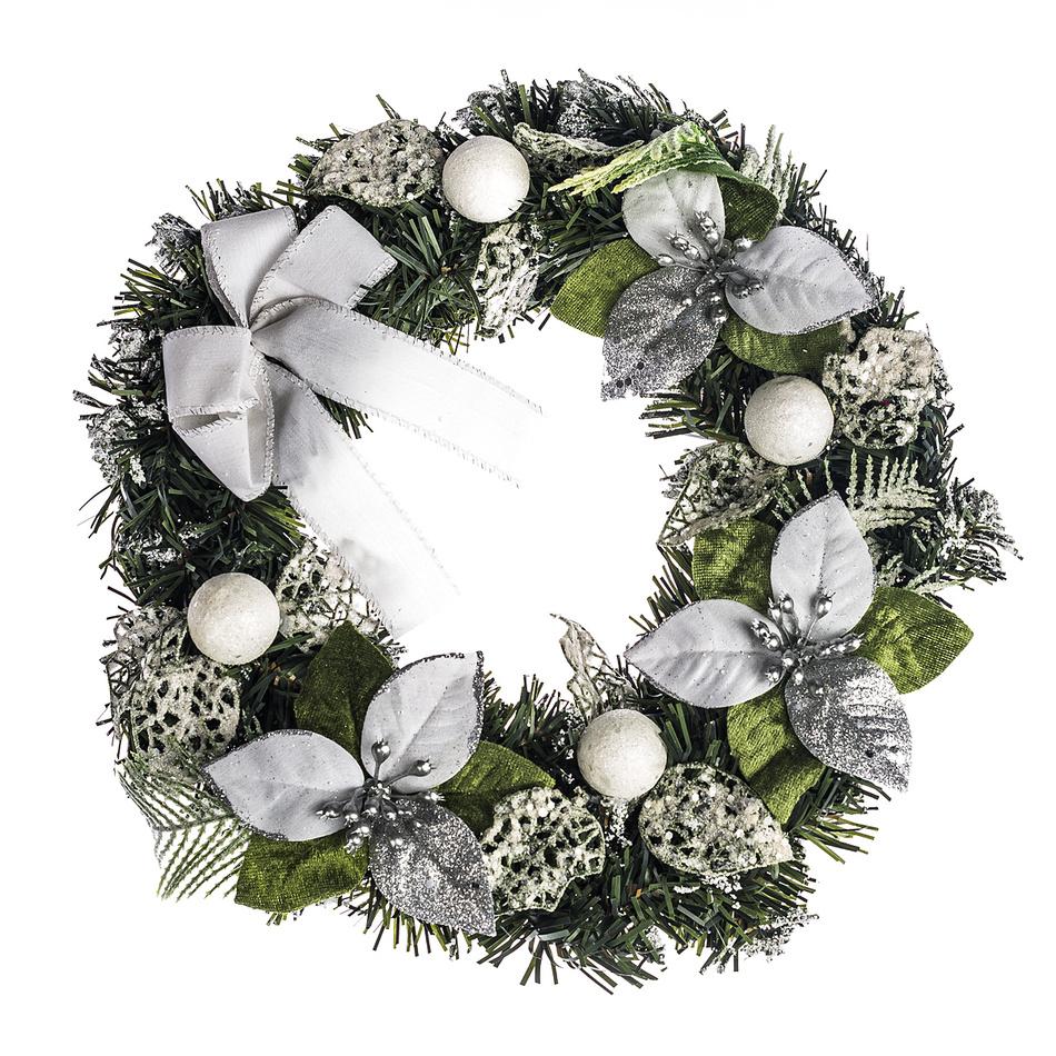 HTH Zdobený vánoční věnec pr. 30 cm stříbrná