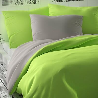Pościel satynowa Luxury Collection zielony/jasnoszary, 240 x 200 cm, 2x 70 x 90 cm