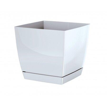 Prosperplast Květináč Coubi Square s miskou bílá, 13,5, 13,5 cm