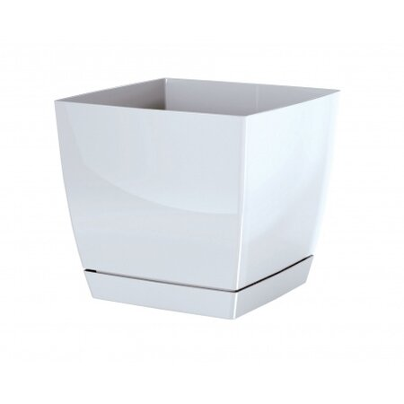 Květináč Coubi Square s miskou bílá, 13,5 cm