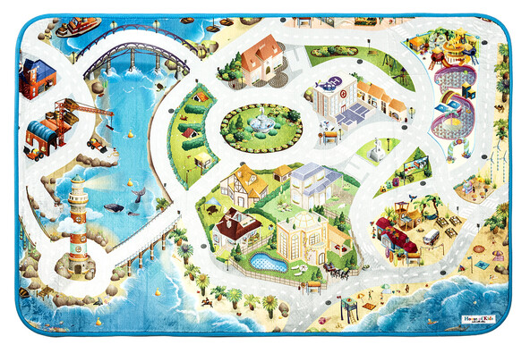 Dětský koberec Ultra Soft Pláž, 95 x 145 cm