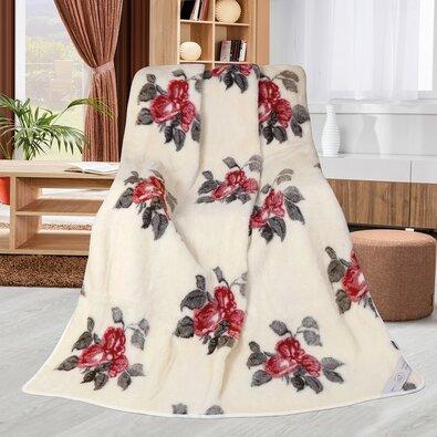 Vörös rózsás gyapjú takaró, 155 x 200 cm