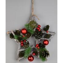 Gwiazda bożonarodzeniowa do zawieszenia Green pine, 24 x 7 cm
