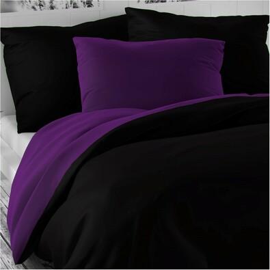 Saténové povlečení Luxury Collection černá /  tmavě fialová, 240 x 200 cm, 2 ks 70 x 90 cm