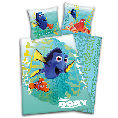 Dětské bavlněné povlečení Nemo, Dory a kamarádi  green, 140 x 200 cm, 70 x 90 cm