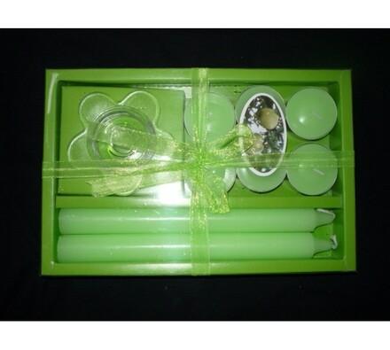 Dárková sada svíček, zelená