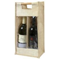 Bellatex Jutová taška na 2 láhve s průhledem, 40 x 20 x 13 cm